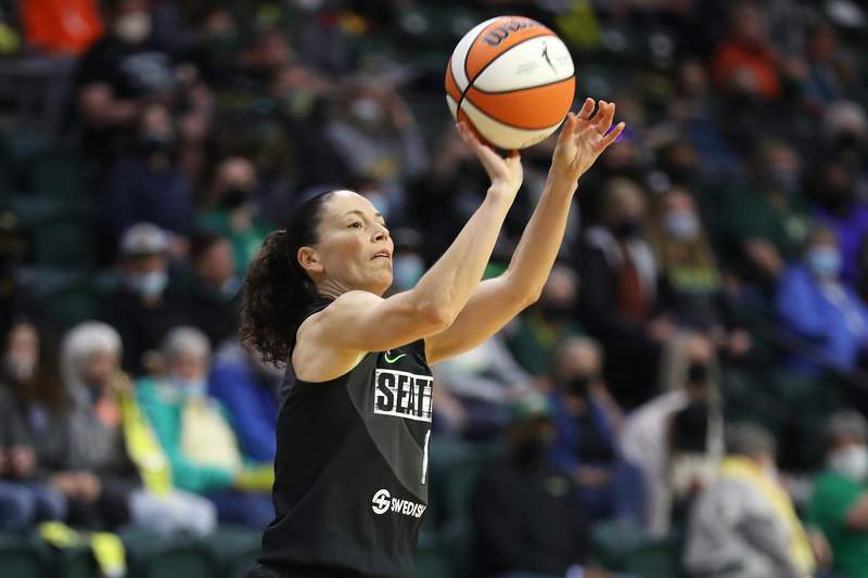 EVERETT, WASHINGTON - JUNE 06: Sue Bird #10 of the Seattle Storm attempts a shot during the first quarter against the Dallas Wings at Angel of the Winds Arena on June 06, 2021 in Everett, Washington. NOTE TO USER: User expressly acknowledges and agrees that, by downloading and or using this Photograph, user is consenting to the terms and conditions of the Getty Images License Agreement.  (Photo by Abbie Parr/Getty Images)