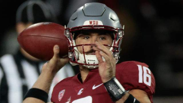 Quarterback Gardner Minshew II #16 of the Washington State Cougars looks to pass against the San Jose State Spartans in the second half at Martin Stadium on September 8, 2018 in Pullman, Washington. Washington State defeated San Jose State 31-0. (Photo by William Mancebo/Getty Images)