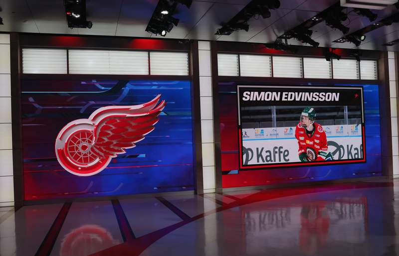 SECAUCUS, NEW JERSEY - JULY 23: With the sixth pick in the 2021 NHL Entry Draft, the Detroit Red Wings select Simon Edvinsson during the first round of the 2021 NHL Entry Draft at the NHL Network studios on July 23, 2021 in Secaucus, New Jersey. (Photo by Bruce Bennett/Getty Images)