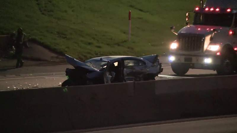 The scene of an April 14, 2021, fatal crash on westbound I-94 near I-96.