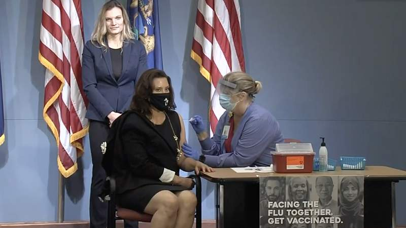 Michigan Governor Gretchen Whitmer receives a flu shot during a press conference on Aug. 25, 2020. The state of Michigan are urging residents to receive a flu vaccination this year in an effort to prevent a flu outbreak amid the already-ongoing coronavirus pandemic.