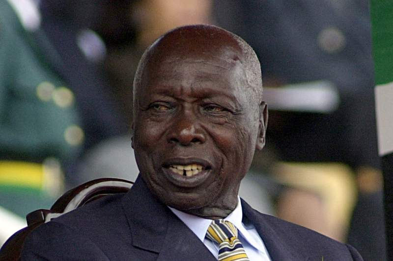 FILE - In this October, 2002, file photo, shows former Kenya's President Daniel arap Moi. Moi, a former schoolteacher who became Kenyas longest-serving president and presided over years of repression and economic turmoil fueled by runaway corruption, has died. He was 95. (AP Photo/Sayyid Azim, File)