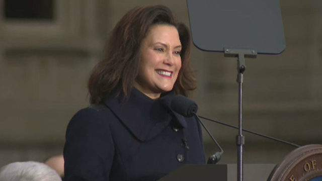 Gretchen Whitmer at her ceremony to be sworn in as Michigan governor on Jan. 1, 2019. (WDIV)