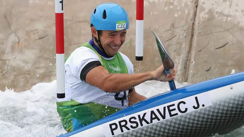 Jiri Prskavec shows his determination in getting through a gate Friday in men's kayak slalom at the Tokyo Olympics.
