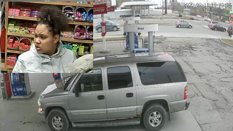 Detroit police are looking for a woman who knocked down a light pole with her vehicle on Feb. 11, 2020.