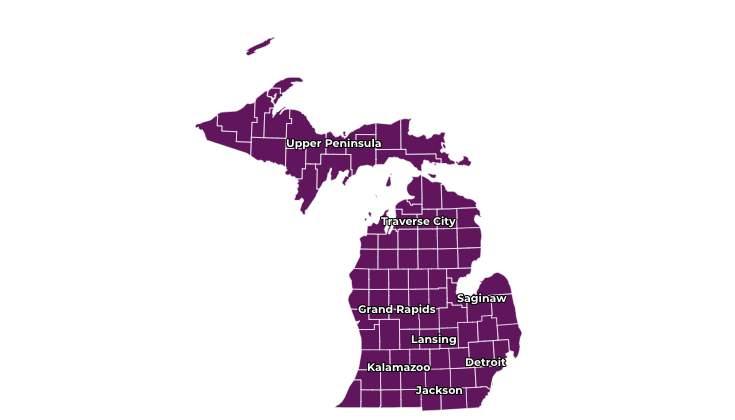 "Entire state of Michigan in ""E"" risk level on Michigan Start Map."