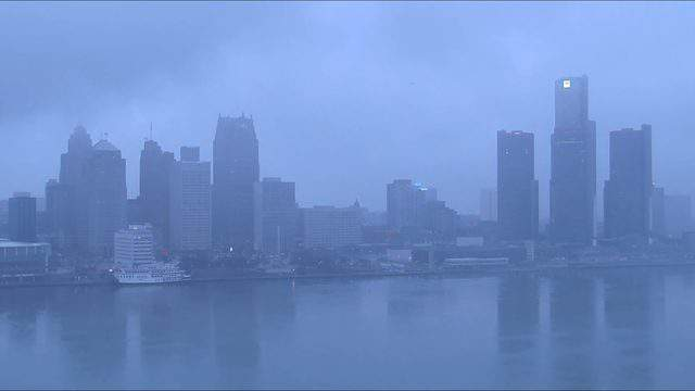 The Detroit riverfront and skyline with overcast on March 21, 2019. (WDIV)