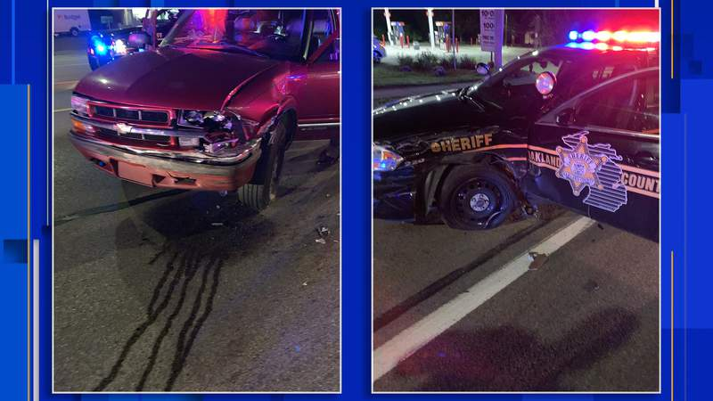 An Oakland County Sheriff's vehicle was struck by a driver who police say was intoxicated while driving on Aug. 6, 2020.