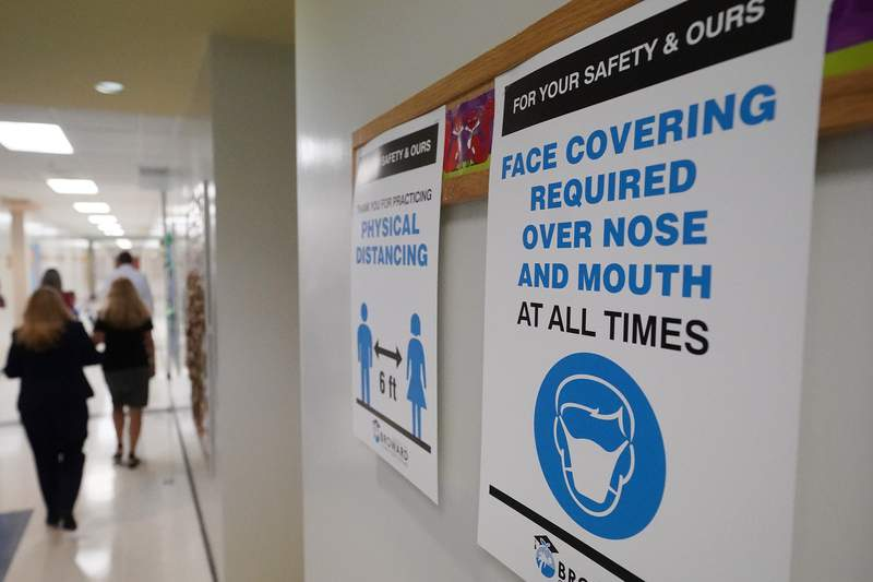 Signs reminding people to wear face masks and practice social distancing. (AP Photo/Wilfredo Lee)