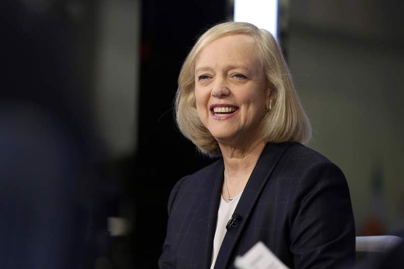 FILE - In this Nov. 2, 2015, file photo, Meg Whitman is interviewed on the floor of the New York Stock Exchange. General Motors expanded its board of directors to 13, appointing former Hewlett-Packard chief  Whitman and NBA executive Mark Tatum effective Thursday, March 25, 2021. Seven of GMs directors are now women, including board chair and Chief Executive Officer Mary Barra, who in 2014 became the first woman to lead a major U.S. automaker.  (AP Photo/Richard Drew, File)