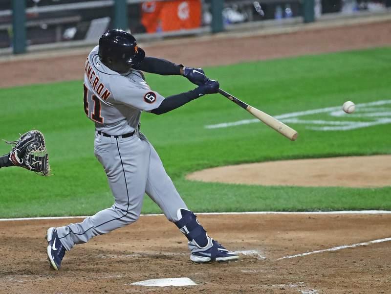 Daz Cameron #41 of the Detroit Tigers hits a three run single in the 6th inning against the Chicago White Sox at Guaranteed Rate Field on September 11, 2020 in Chicago, Illinois.