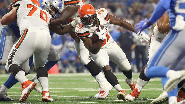 Nick Chubb of the Cleveland Browns scores a first quarter touchdown while playing the Detroit Lions during a preseason game at Ford Field on August 30, 2018 in Detroit, Michigan. (Photo by Gregory Shamus/Getty Images)