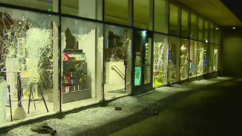Several broken windows at the Grand Rapids Art Museum. (May 31, 2020)