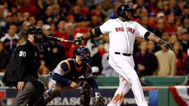 BOSTON, MA - OCTOBER 13: David Ortiz #34 of the Boston Red Sox hits a game-tying grand slam in the eighth inning against the Detroit Tigers during Game Two of the American League Championship Series at Fenway Park on October 13, 2013 in Boston, Massachusetts. (Photo by Jim Rogash/Getty Images)