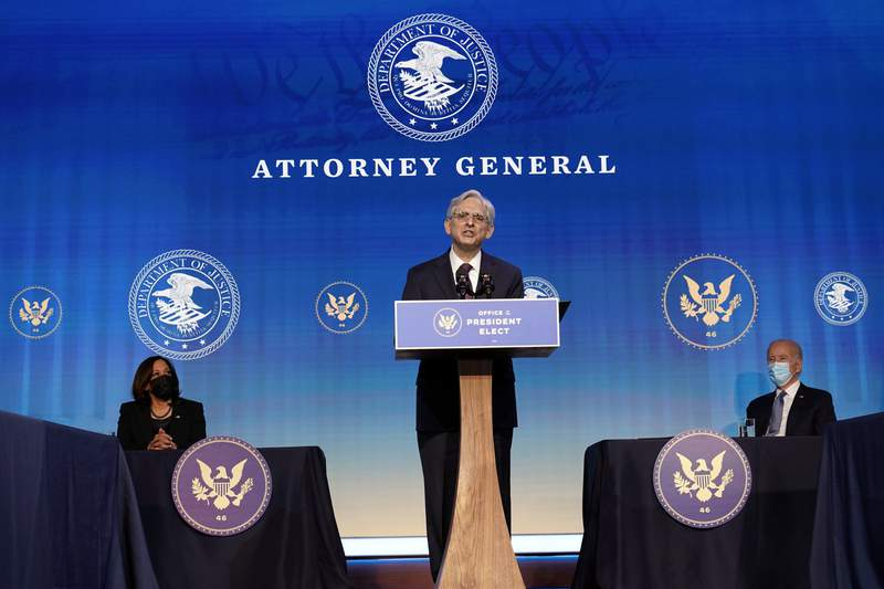 Attorney General nominee Judge Merrick Garland speaks during an event with President-elect Joe Biden and Vice President-elect Kamala Harris at The Queen theater in Wilmington, Del., Thursday, Jan. 7, 2021. (AP Photo/Susan Walsh)