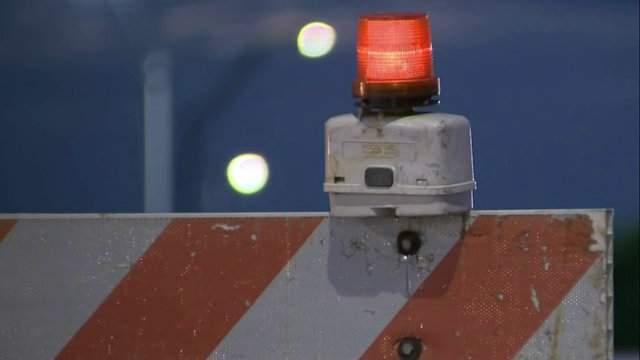 Road construction barricade (WDIV)