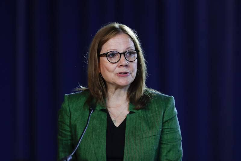 FILE - In this July 16, 2019, file photo General Motors Chairman and Chief Executive Officer Mary Barra speaks during the opening of their contract talks with the United Auto Workers in Detroit.  The typical pay package for CEOs at the biggest U.S. companies topped $12.3 million in 2019, and the gap between the boss and their workforces widened further, according to APs annual survey of executive compensation.    (AP Photo/Paul Sancya, File)