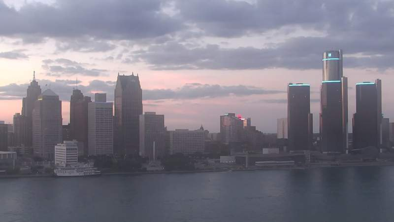 View of Detroit from the Windsor sky camera on Aug. 19, 2020 at 8:30 p.m.