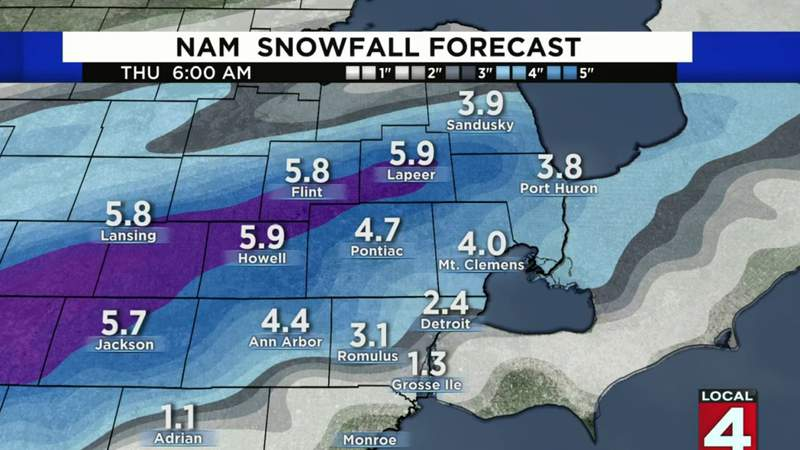 Snowfall forecast for Metro Detroit week of Feb. 4-8, 2020