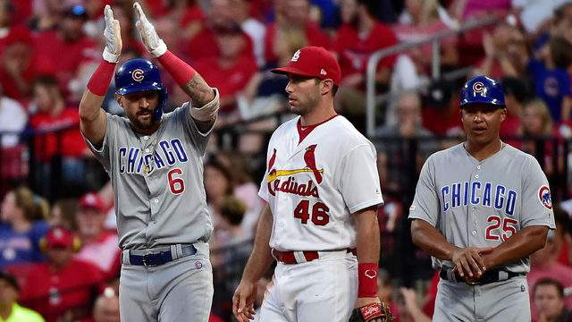 Nicholas Castellanos #6 of the Chicago Cubs celebrates after breaking up a no hitter with a single off of Jack Flaherty #22 of the St. Louis Cardinals during the sixth inning at Busch Stadium on August 1, 2019 in St Louis, Missouri. (Photo by Jeff Curry/Getty Images)