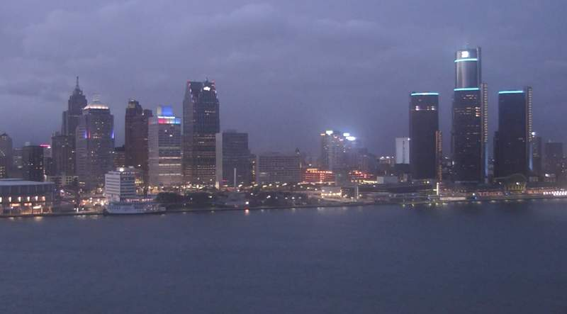 View of Detroit from the Windsor sky cam on April 9, 2020 at 8:30 p.m.