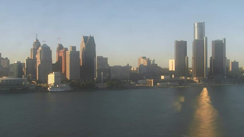 View of Detroit from the Windsor sky camera on Sept. 20, 2020 at 6:50 p.m.