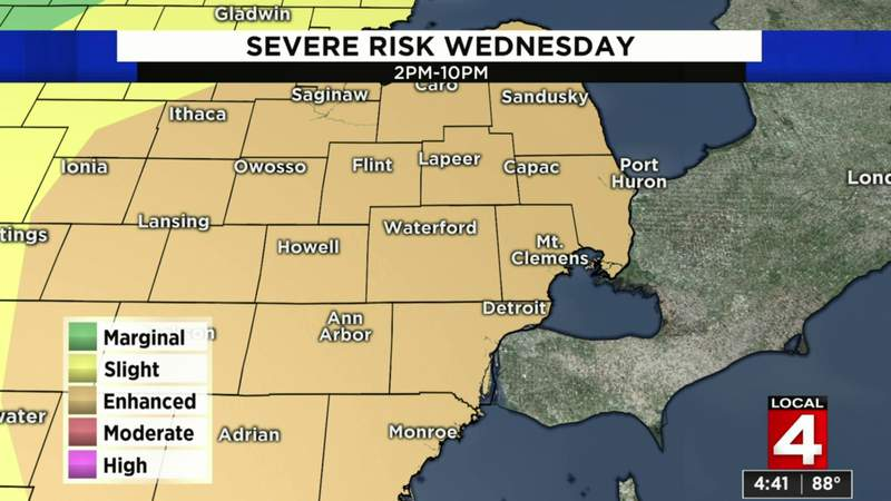Metro Detroit weather: Severe Risk of storms Wednesday
