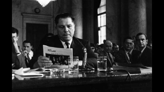 Jimmy Hoffa addresses a 1958 hearing of theMcClellan Committee on labor racketeering.