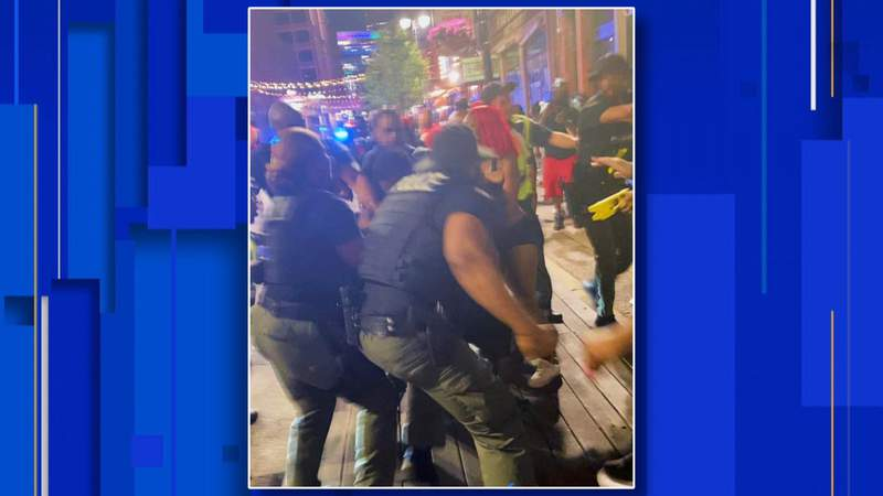 A frame from the viral video of the massive brawl in Greektown on June 6, 2021. (IG: HoodTalesTV)