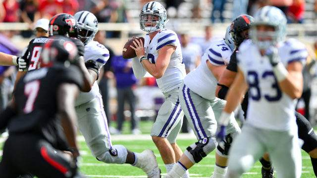 Skylar Thompson #10 of the Kansas State Wildcats looks to pass the football during the game against the Texas Tech Red Raiders on November 4, 2017 at Jones AT&T Stadium in Lubbock, Texas. Kansas State defeated Texas Tech 42-35 in overtime. (Photo by John Weast/Getty Images)