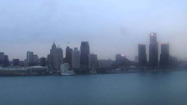 Sunset in Detroit from the Windsor sky cam on Oct. 19, 2018 at 6:14 p.m. (Official time of sunset 6:44 p.m.)