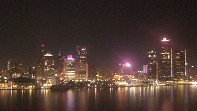 View of Detroit from the Windsor sky camera on Oct. 28, 2019 at 8:28 p.m. (WDIV)