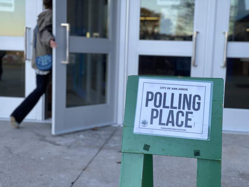 Voters enter Pioneer High School in the final hour of Election Day on March 10, 2020.