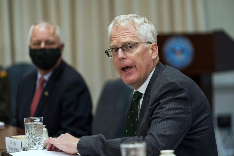 Acting Secretary of Defense Christopher Miller speaks during a meeting with Lithuanian Minister of National Defence Raimundas Karoblis at the Pentagon, Friday, Nov. 13, 2020. (AP Photo/Manuel Balce Ceneta)