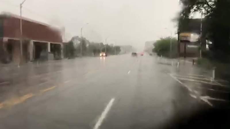 Heavy rainfall on Jefferson Avenue in Detroit on June 29, 2021.