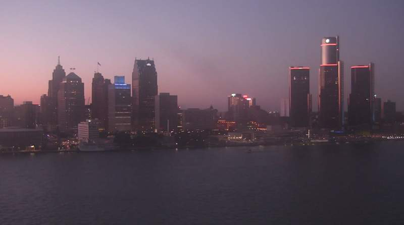 View of Detroit from the Windsor sky camera on Sept. 4, 2020 at 8:24 p.m.