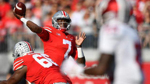 Dwayne Haskins throws a 39-yard touchdown pass against Indiana at Ohio Stadium on Oct. 6, 2018, in Columbus, Ohio. (Jamie Sabau/Getty Images)