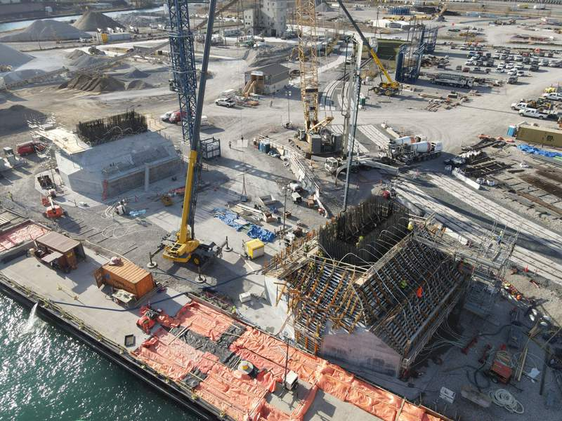 New photos of the Gordie Howe International Bridge construction site in Detroit show the project progress as of Jan. 28, 2021.