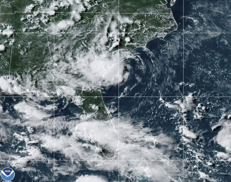 This satellite image provided by the National Oceanic and Atmospheric Administration shows Tropical Storm Danny making landfall along the East Coast, Monday, June 28, 2021, at 2140 GMT (5:40 p.m. ET). (NOAA/NESDIS/STAR GOES via AP)