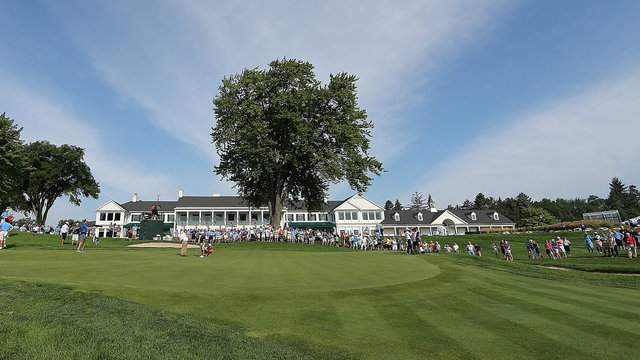 The 9th green during the semifinal round played on the South Course at Oakland Hills Country Club on August 20, 2016 in Detroit, Michigan. Curtis Luck defeated Nick Carlson on the 21st hole. (Photo by Leon Halip/Getty Images)
