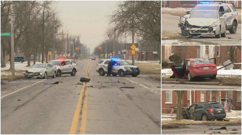 Police said seven people were hurt in a Feb. 11, 2020, crash involving three cars on Detroit's east side.