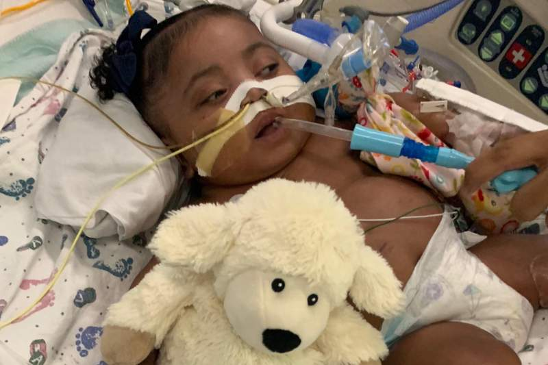 This Nov. 8, 2019 photo provided by Texas Right to Life shows Tinslee Lewis. A Texas appeals court on Friday, Jan. 3, 2020 agreed to delay a judges ruling that would have allowed a hospital to end life-sustaining treatment for Tinslee Lewis, an 11-month-old girl who doctors say is in pain and will not get better. (Texas Right to Life via AP)