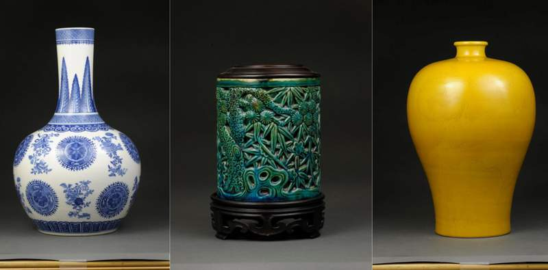 (From L-R): Vase, China, Qing dynasty (18th century), soft past porcelain with blue underglaze and painting. Brush Holder, China, Qing dynasty, Kangxi reign (1662 - 1722), porcelain with glaze. Meiping Vase, China, Qing dynasty, Kangxi reign (1662 - 1722), porcelain with glaze. All promised gifts of William C. Weese.