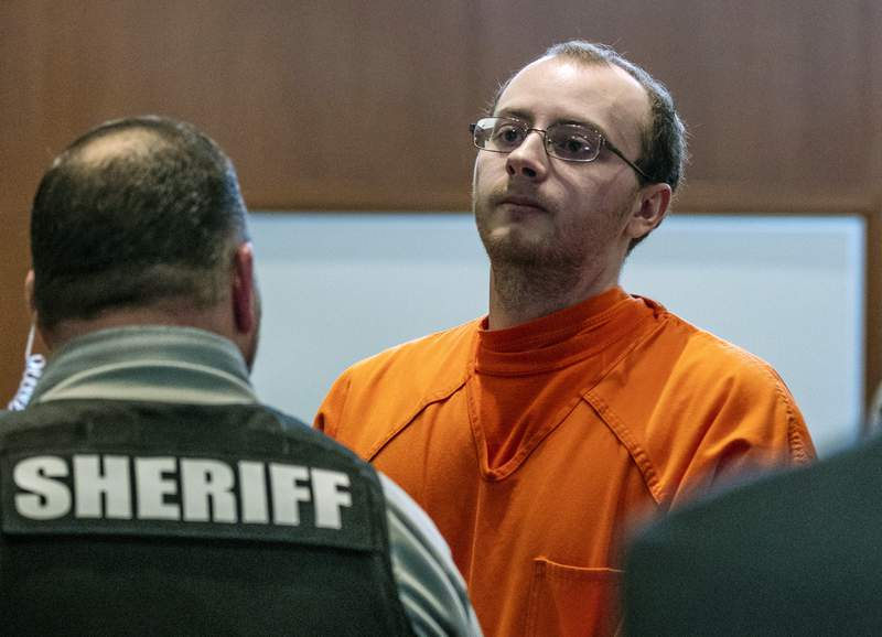 FILE- In this March 27, 2019, file photo, Jake Patterson appears for a hearing at the Barron County Justice Center, in Barron, Wis. Patterson convicted of kidnapping a Wisconsin girl and killing her parents told police after his arrest that he never thought Jayme Closs would escape because she was petrified, and that after holding her captive for two weeks, he believed he'd get away with his crimes, according to a transcript of a police interview that was released Friday, Dec. 20, 2019. (T'xer Zhon Kha/The Post-Crescent via AP, Pool)