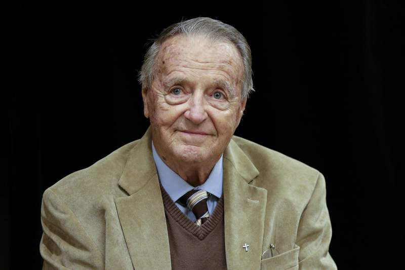 FILE - This is a Jan. 10, 2018, file photo showing former Florida State NCAA college football head coach Bobby Bowden at a Rotary Club luncheon in Omaha, Neb. Former Florida State coach Bobby Bowden has tested positive for COVID-19 and was home monitoring his symptoms. Family friend and Bowden's former publicist Kim Shiff says the 90-year-old Bowden had been hospitalized in Tallahassee, Florida, for about two weeks. He returned home late last week and was informed he had tested positive. Bowden told the Tallahassee Democrat on Monday, Oct. 5, 2020, he had not exhibited symptoms of the virus. (AP Photo/Nati Harnik, File)
