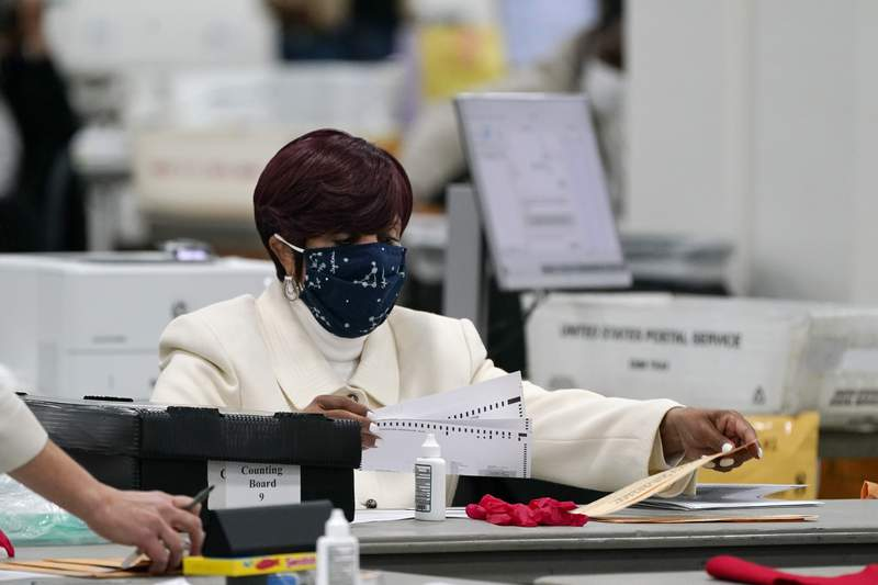 FILE - In this Nov. 4, 2020 file photo, absentee ballots are processed at the central counting board in Detroit. (AP Photo/Carlos Osorio, File )