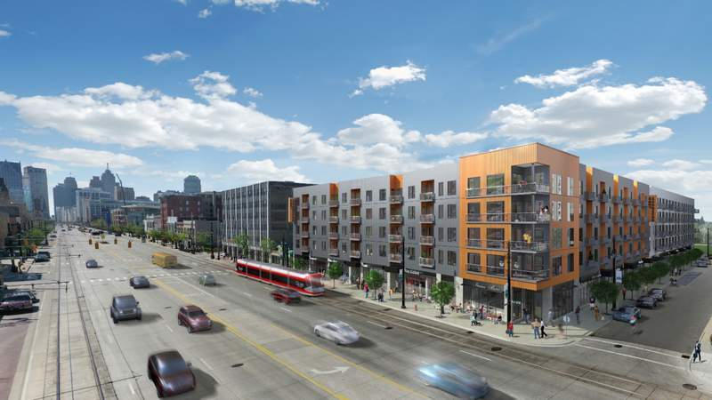 A rendering of Woodward West, a $60 million mixed-use development project that broke ground on Nov. 9 on Woodward Avenue near Stimson Street. Slated to open in the summer of 2022, the five-story structure plans to offer 204 apartments and 25,000 feet of retail space. Photo provided by Vandyke Horn.