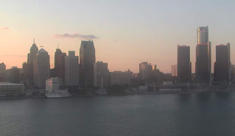 View of Detroit from the Windsor sky camera on Aug. 6, 2020 at 8:28 p.m.