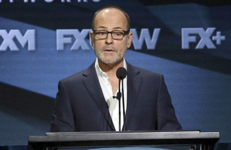 FILE - In this Aug. 3, 2018, file photo, John Landgraf, CEO, FX Networks and FX Productions, participates in the executive panel during the FX Television Critics Association Summer Press Tour in Beverly Hills, Calif.  (Photo by Willy Sanjuan/Invision/AP, File)