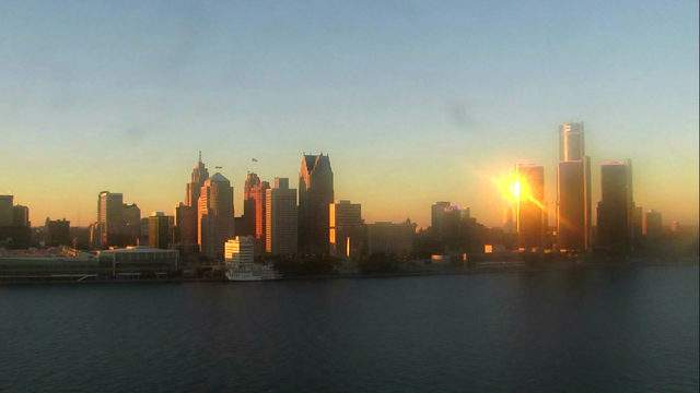 Sunset in Detroit from the Windsor sky cam on Oct. 10, 2018 at 6:27 p.m.